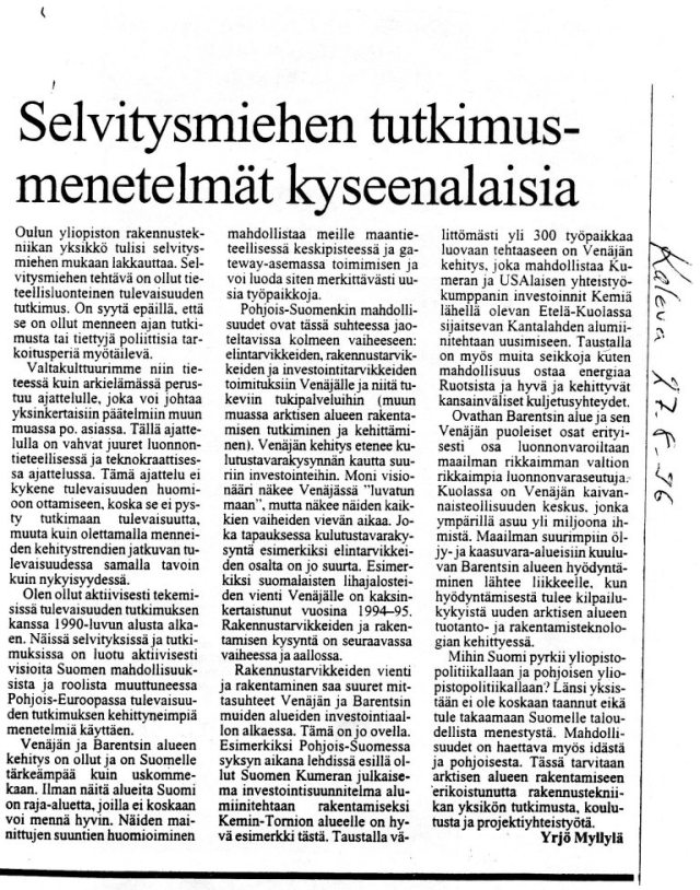 Kaleva, Mielipide, 27.8.1996, pak
