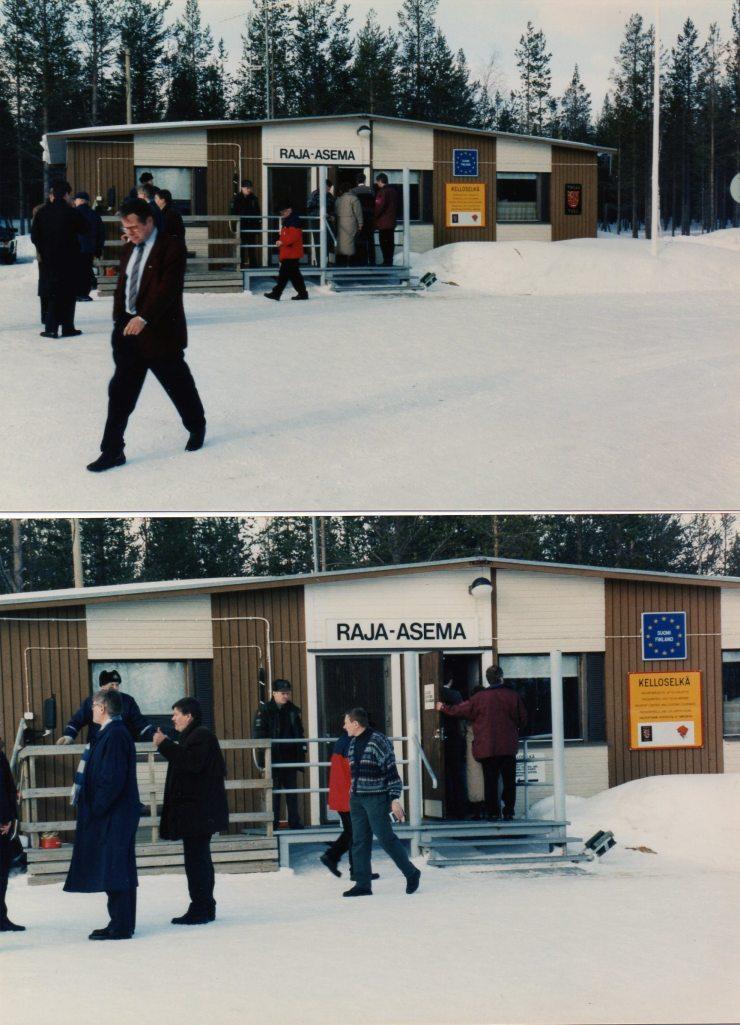 Sallan raja-asema 1996 ja tulevaisuuden tekijät, mm. kuvassa käsimerkkiä antava johtaja Aaro Tiilikainen, messuhankkeen mahdollistaja hyvän hankeilmapiirin kautta.