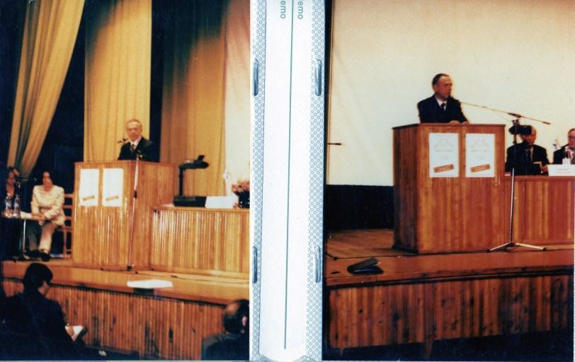 Venäjän ex-ulkoministeri puhumassa Valkoisen Meren messujen yhteydessä järjestetetyssä Barentsin käytävän kehittämisseminaarissa Kantalahdessa vuonna 1996.