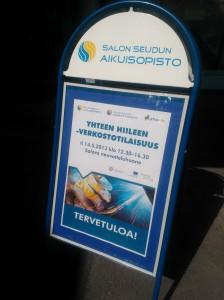 Yhteen hiileen verkostoitumistilaisuus pidettiin Salon Astrum-keskuksen Salora-neuvottelusalissa 15.5.2013.