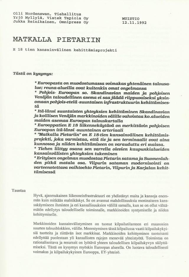 E18-tien kansainvälinen kehittämisprojekti Matkalla Pietariin
