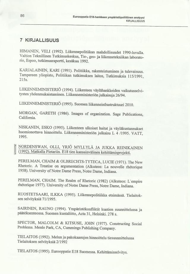 E18 tien kansainvälinen kehittämisprojekti Matkalla Pietariin - Ympäristöpoliittinen analyysi