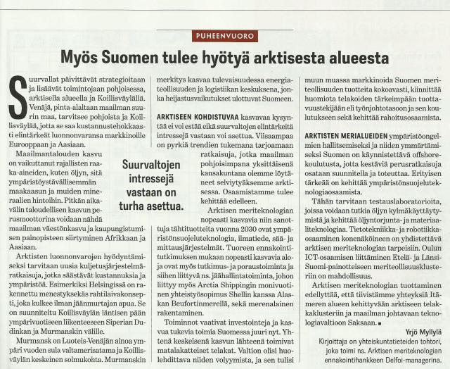 """Suomen Kuvalehti, Puheenvuoro: """"Myös Suomen tulee hyötyä arktisesta alueesta"""""""