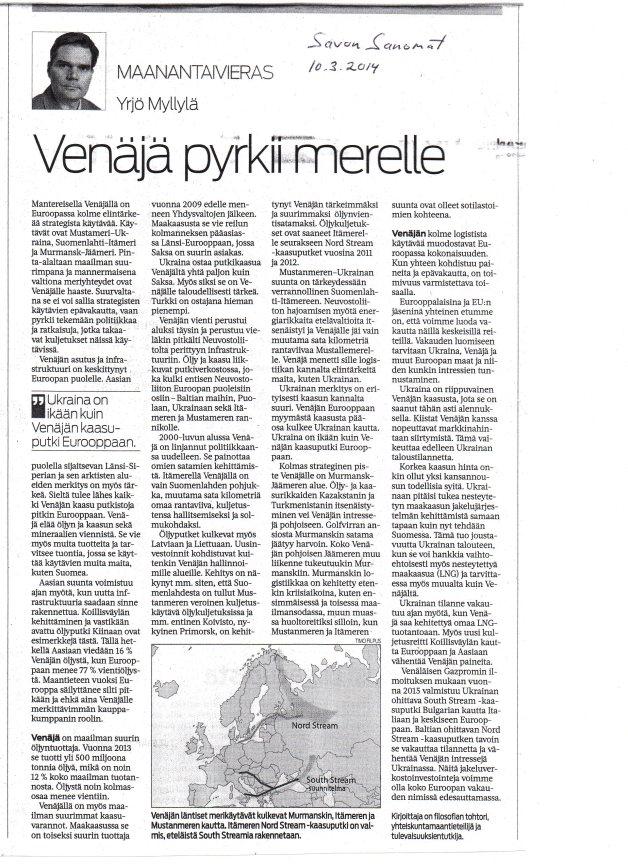 Savon Sanomat  Maanantaivieras 10.3.2014